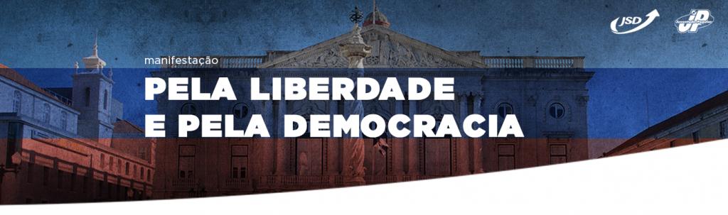 Manifestação pela Democracia e pela Liberdade à frente da CM Lisboa